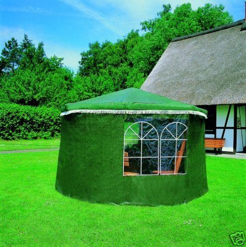 Wetterschutzumhang f. Holzpavillon mit Tisch u. 4 Sitzen, grün oder weiß