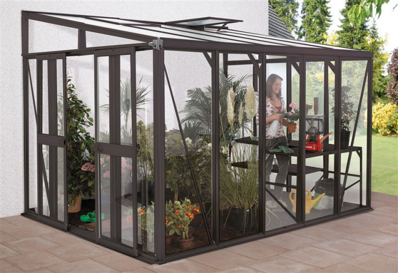 vitavia anlehngew chshaus helena 4 gr en in dunkelgrau glas 2 regenfallrohre balkon garten. Black Bedroom Furniture Sets. Home Design Ideas