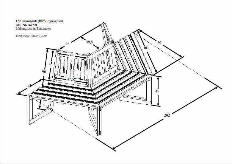 Baumbank 180 grad - Gartenbank - Bank Sitzbank Garten B205XT89XH90cm Kiefernholz