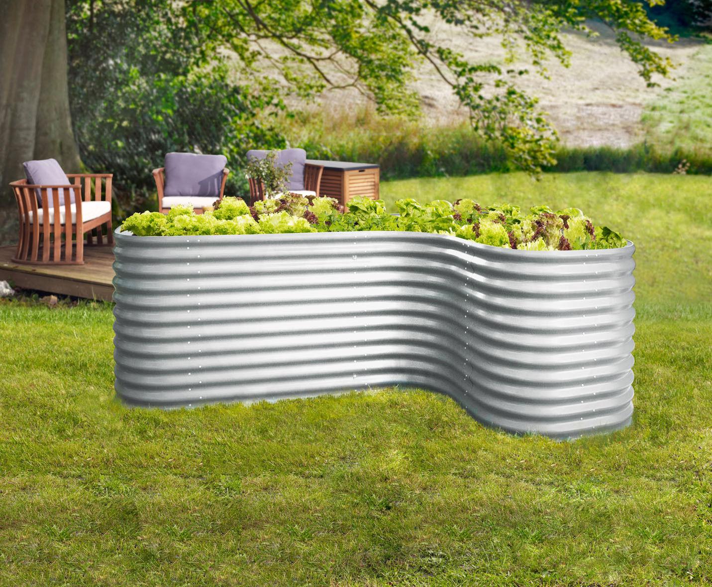 set vitavia hochbeet zinkalum basic erweiterung curve b242xt162xh86 cm alu balkon garten shop. Black Bedroom Furniture Sets. Home Design Ideas