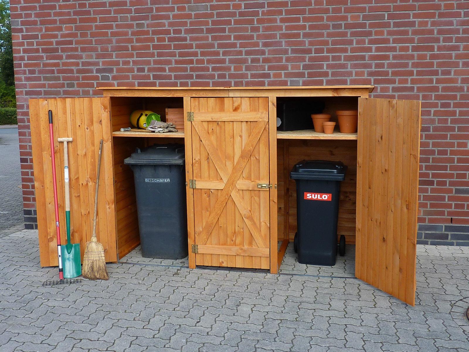 Mülltonnenschrank 3-türig für 3 Tonnen Müllcontainer Müllbox Holz honig-braun