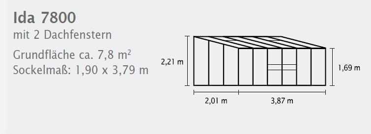 Vitavia Anlehngewächshaus Ida - Gewächshaus 6 Größen - HKP 4 oder 6mm alu-blank