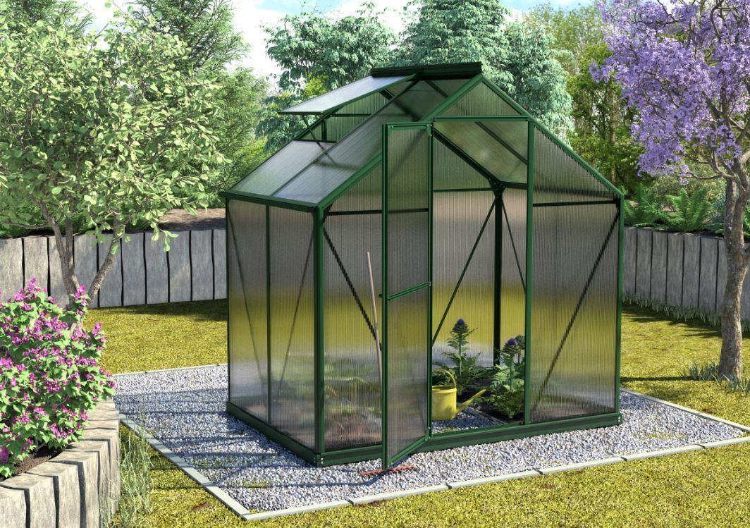 pergart gew chshaus triton gr n inkl stahlfundament hkp4mm 5gr sehr windstabil balkon garten. Black Bedroom Furniture Sets. Home Design Ideas