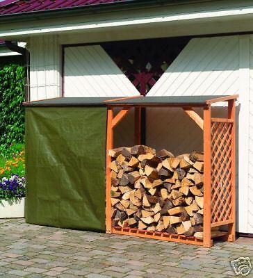 Regenschutz für den Kaminholzschrank Speyer, aus grünem PE-Gewebe
