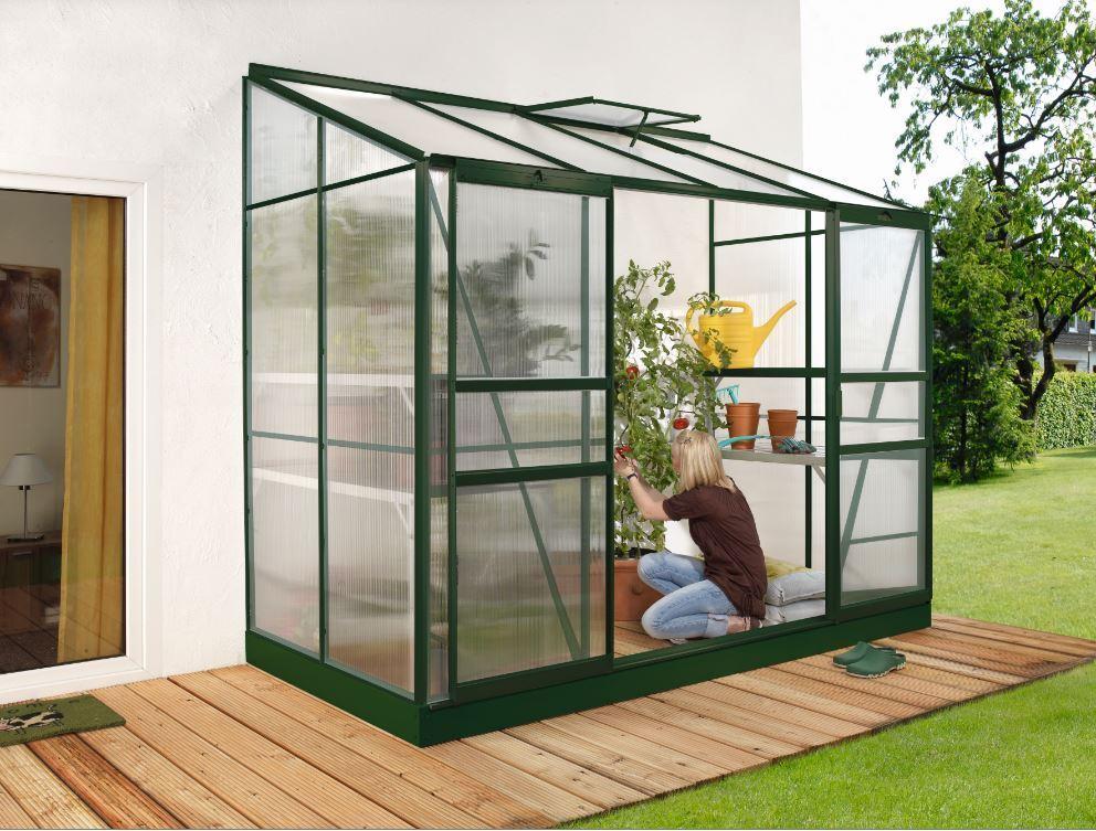 Vitavia Anlehngewächshaus Ida - Gewächshaus 6 Größen - HKP 4 oder 6mm, smaragd