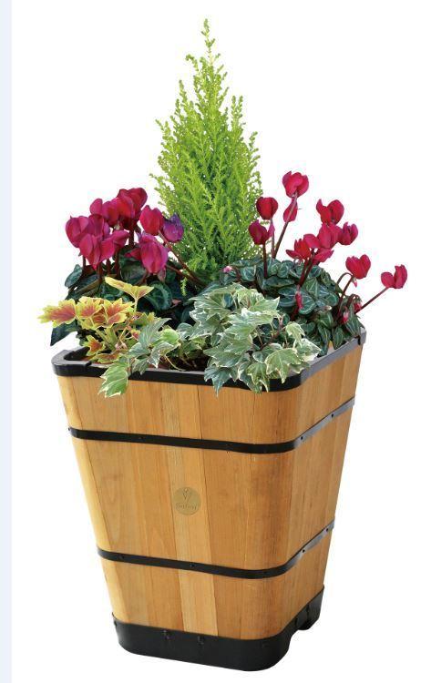 Pflanzkübel eckig 40 cm - Holz, natur - Balkon-Garten Shop