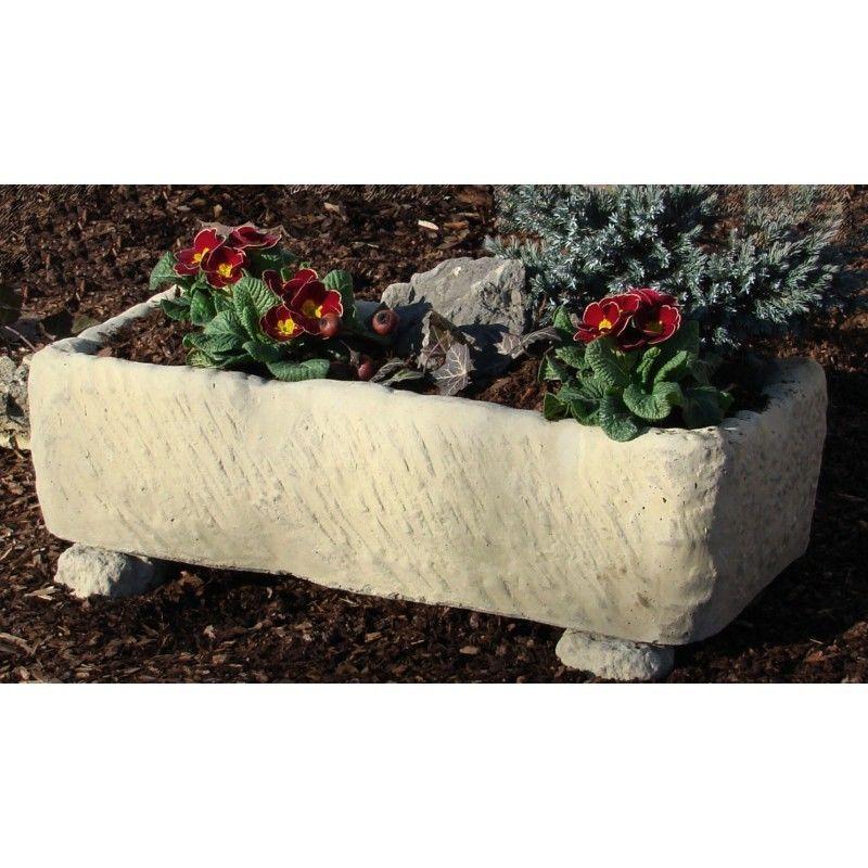 Pflanztrog Blumenkasten Werksandstein L67xB33xH17cm, Stein 45kg rötlich o. beige