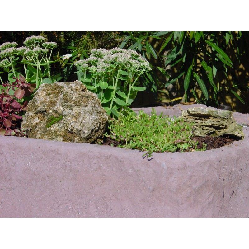 Pflanztrog Blumenkasten Werksandstein L85xB41xH19cm, Stein 89kg rötlich o. beige