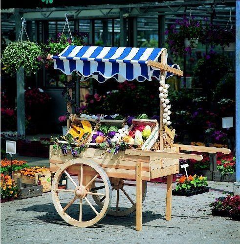 Gartendekoration Marktwagen mit Baldachin weiß-blau, Holz, natur, Gartendeko