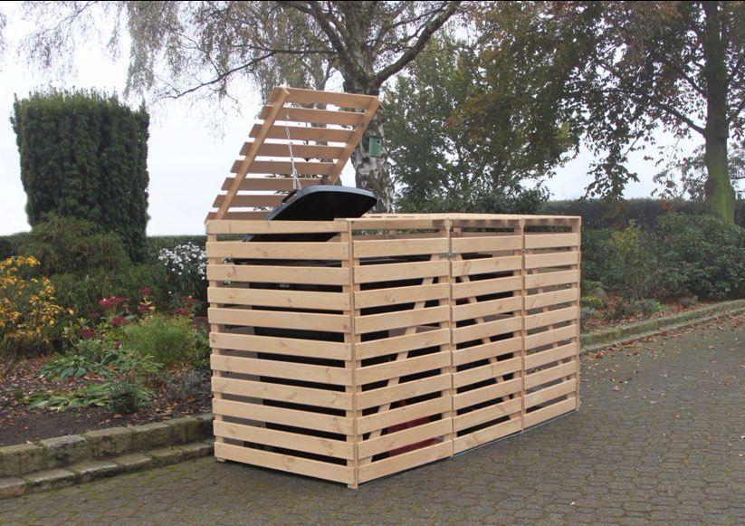 """Mülltonnenbox """"Vario V"""" für 3 Tonnen, Holz natur, Maße (BxTxH) : 219x92x122 cm"""