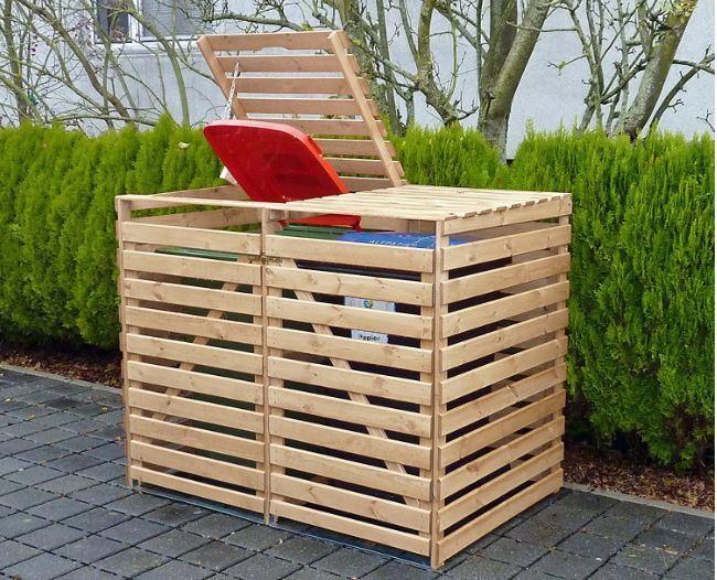 """Mülltonnenbox """"Vario V"""" 2 Tonnen, Holz natur, Maße (B x T x H):148 x 92 x 122 cm"""