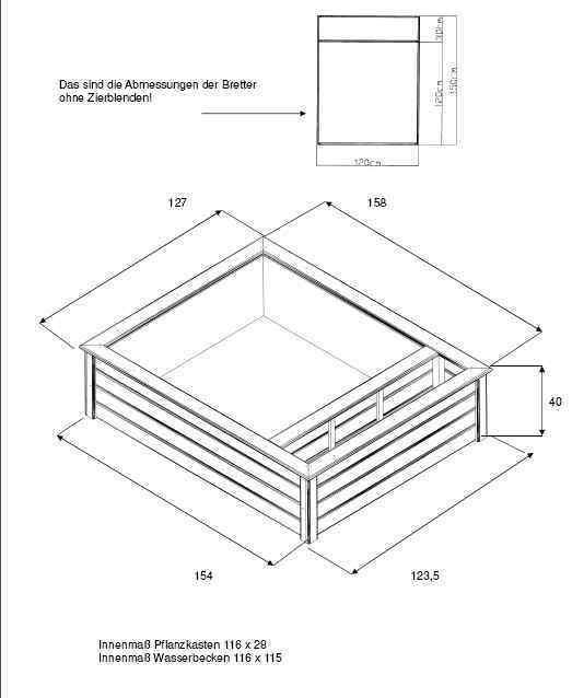 Terrassenteich 120x150cm mit 1 Pflanzzone - Hochteich