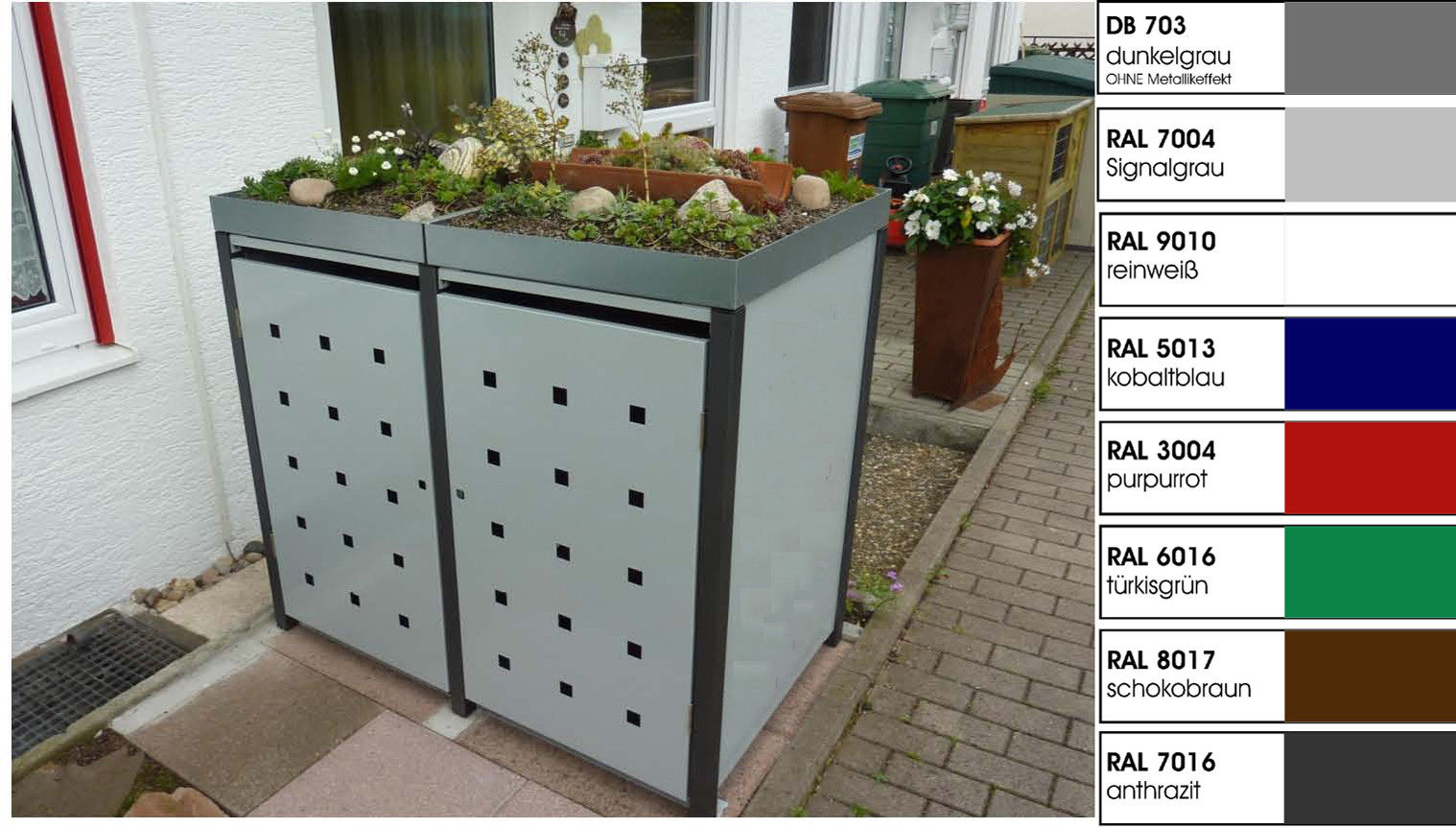 Metall Mülltonnenbox für 2 Tonnen, Müllcontainer, Müllbox. Made in Germany.
