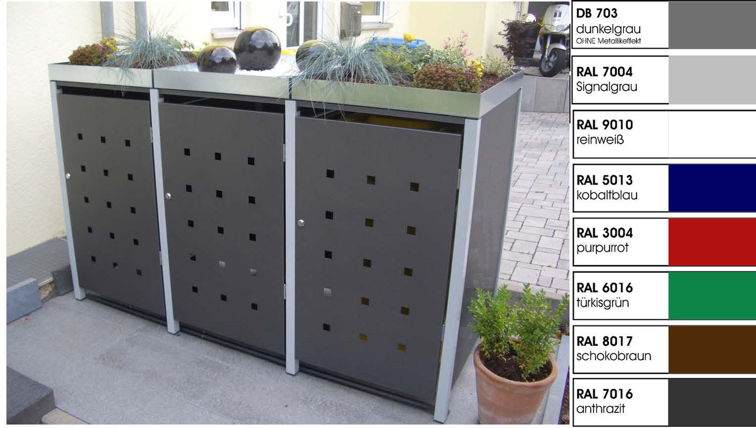 Metall Mülltonnenbox für 3 Tonnen, Müllcontainer, Müllbox. Made in Germany.