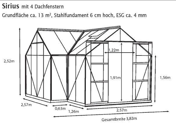 Pergart Gewächshaus Sirius 13qm in alu, smaragd, schwarz, GLAS, inkl. Fundament