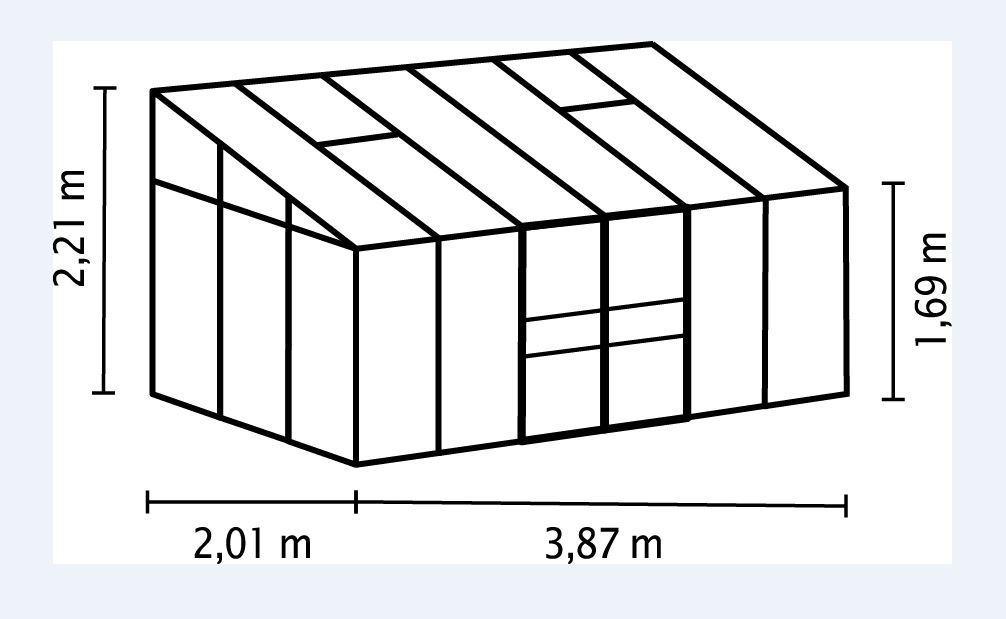 Vitavia Anlehngewächshaus Ida - Gewächshaus 6 Größen - HKP 4 oder 6mm, anthrazit