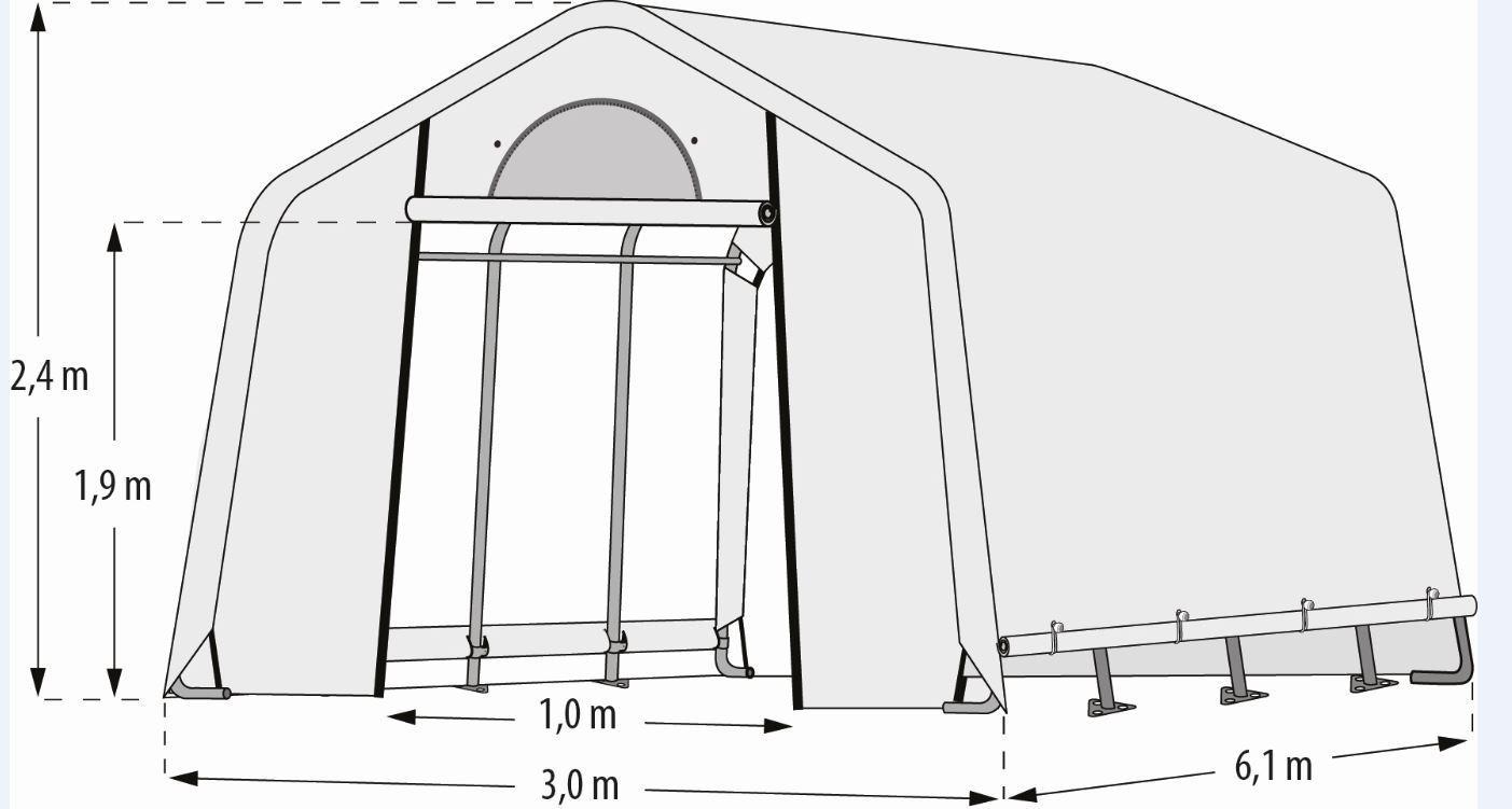 "Pergart Foliengewächshaus ""Arche L"" 18,30qm, B300 x T610 x H240 cm"