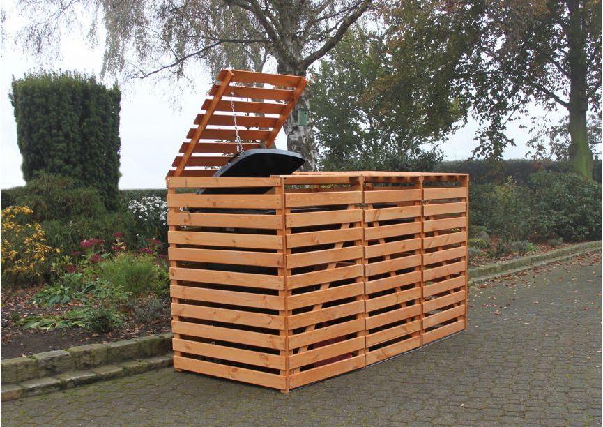 "Mülltonnenbox ""Vario V"" für 3 Tonnen, Honigbraun, Maße (BxTxH) : 219x92x122 cm"