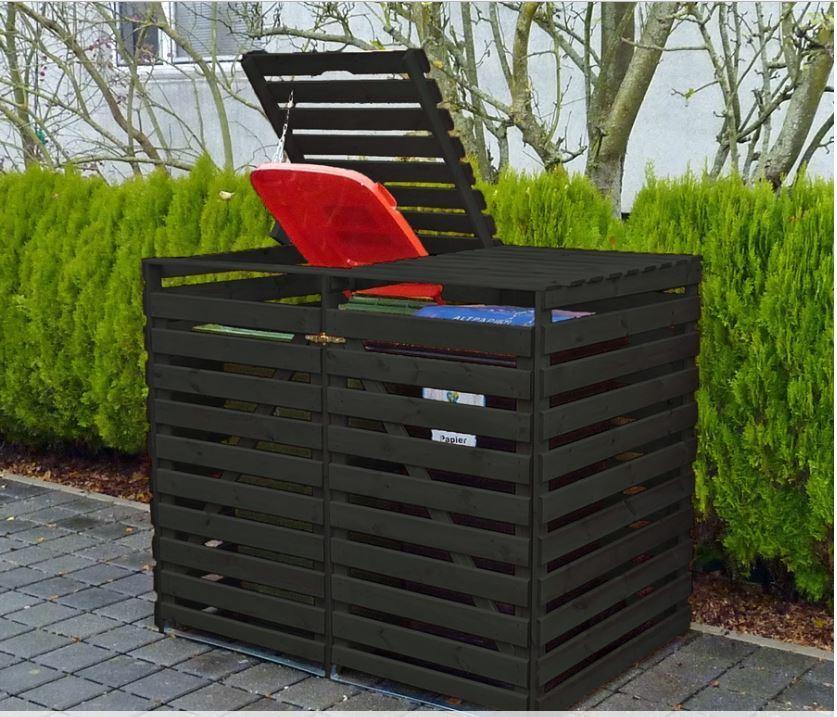 """Mülltonnenbox """"Vario V"""" für 2 Tonnen, Anthrazit, Maße (BxTxH) : 148x92x122 cm"""