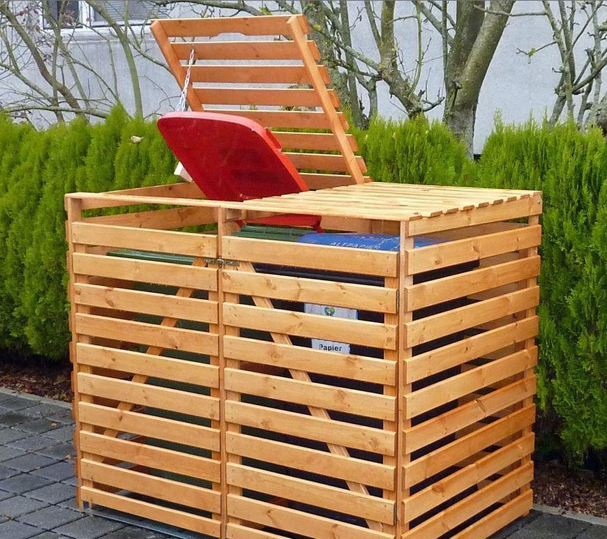"Mülltonnenbox ""Vario V"" für 2 Tonnen, Honigbraun, Maße (BxTxH) : 148x92x122 cm"
