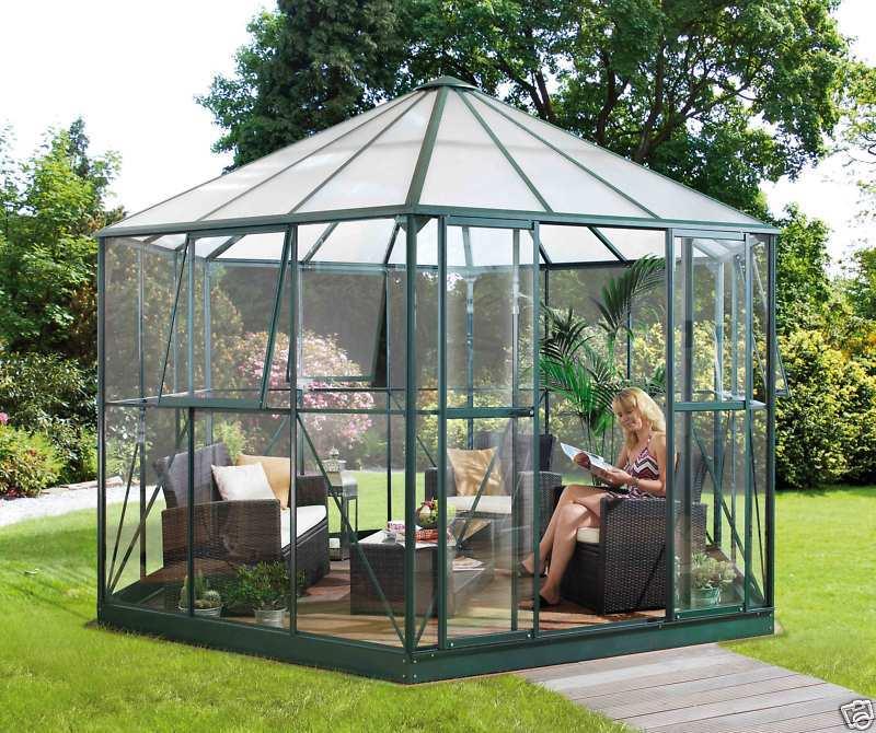 Vitavia Hera 9000 smaragd grün Alu Glas Pavillon Gewächshaus 9qm