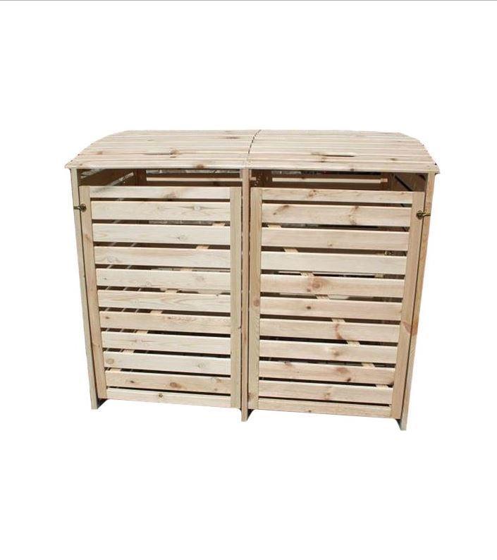 "Mülltonnenbox ""Vario III"" für 2 Tonnen, Holz natur"