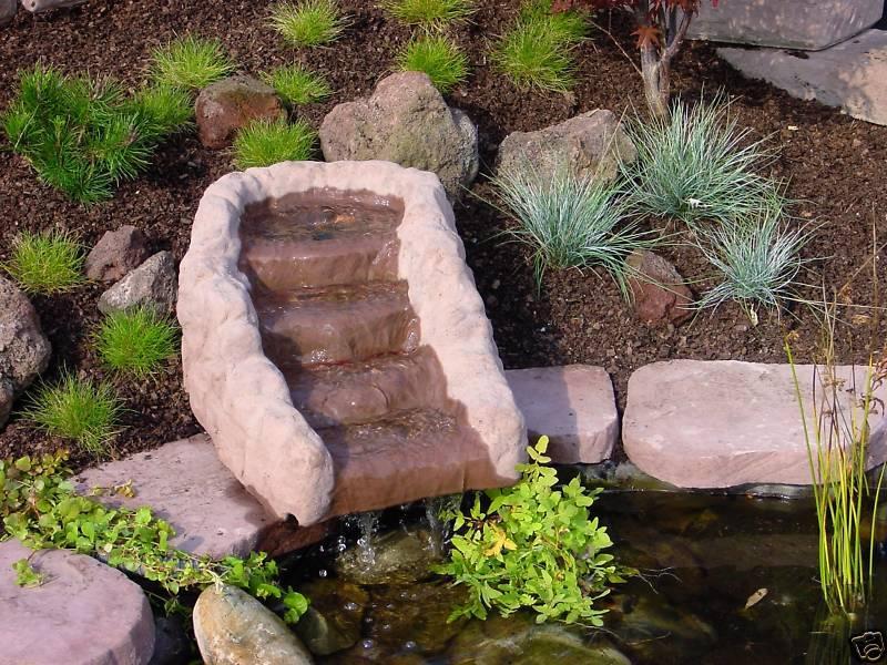 Wasserfall - Kaskade - Quellstein Wasserspiel, 50kg, Werksandstein rötlich-braun