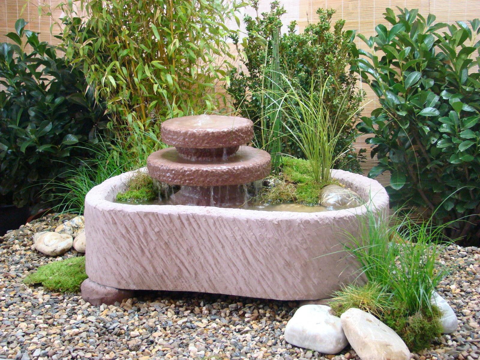 Mini Teich mit 2 Kaskaden Springbrunnen Wasserspiel Werksandstein 165kg  + Pumpe