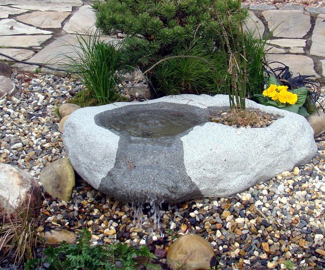 Quellfindling mit Wassereinspeisung Brunnen Granitwerkstein Stein 104kg
