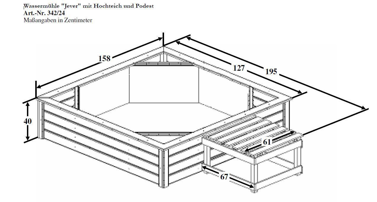 Terrassenteich mit Wassermühle Wasserspiel Teich Mühle B158xT195xH100cm, Holz