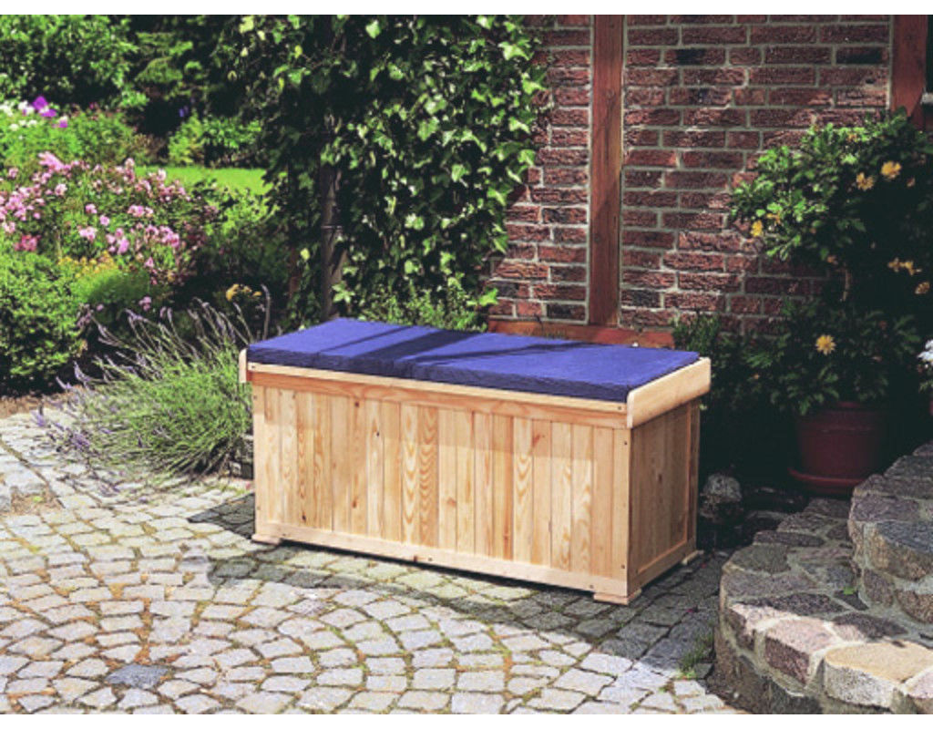 Gartenbank mit Polstertruhe Bank Sitzbank Truhe Box L120xB51xH56cm Holz natur