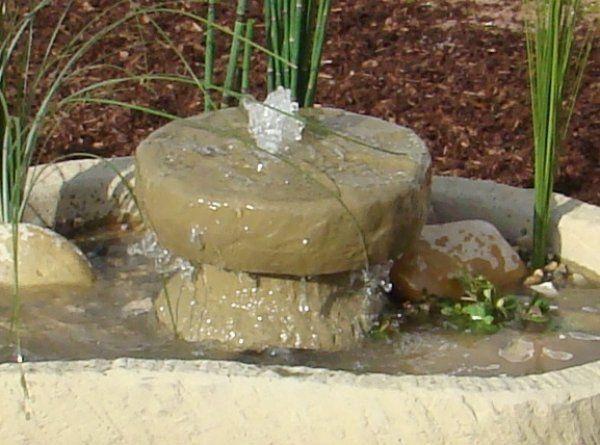 Mini Teich mit Mühlstein - Springbrunnen Wasserspiel, 154kg, Werksandstein