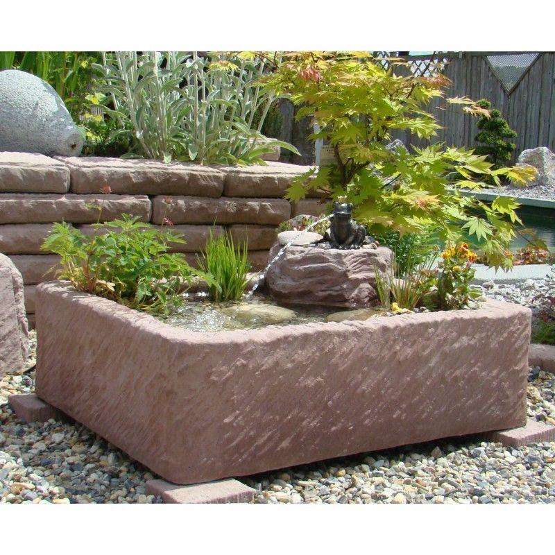 Miniteich mit Bronze-Wasserspeier Froschkönig Werksandstein Stein 118kg