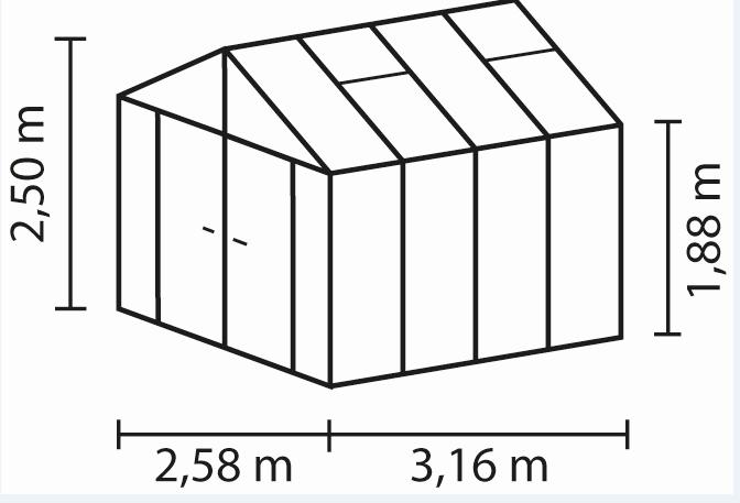 Pergart Vitavia Gewächshaus Zeus Comfort-5 Größen 8,1qm-15,7qm, ESG 3mm/HKP 10mm