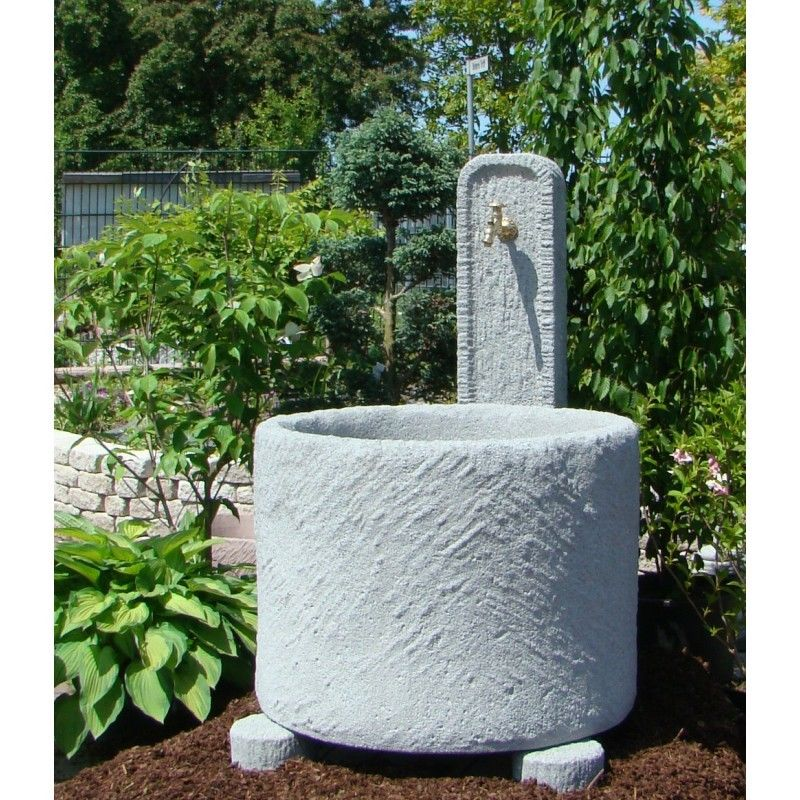 Schöpfbrunnen Granitwerkstein mit Messing-Absperrhahn Brunnen massiv 419kg
