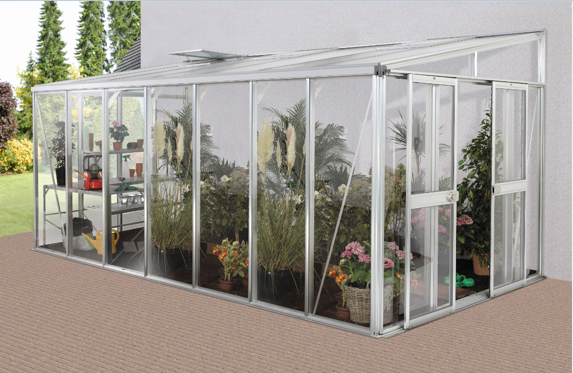 Vitavia Anlehngewächshaus Athena 4 Größen, hybrid Glas / HKP, alu