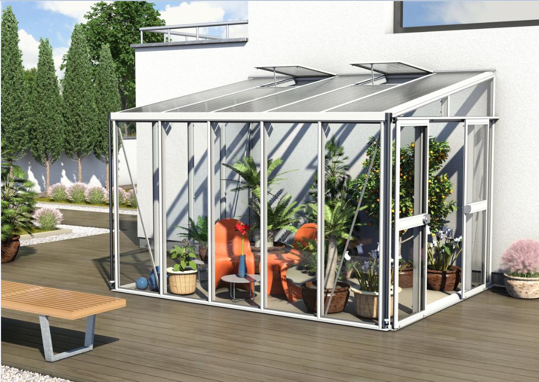 Vitavia Anlehngewächshaus Athena 4 Größen, hybrid Glas / HKP, weiß