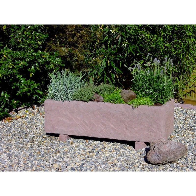 Pflanztrog Blumenkasten Werksandstein L98xB38xH27cm rötlich-braun, Stein 130kg