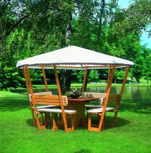 Holzpavillon mit Tisch und 4 Sitzbänken * Pavillon Dachmaß:L304XB304XH213cm