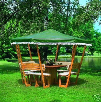 Holzpavillon Rosenheim L200 X B200 cm mit Tisch und 4 Sitzbänken * Pavillon