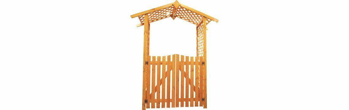 Rosenbogen mit Tor * Pergola mit Türen * Holz B167xT53xH219cm. Durchgang: 105cm