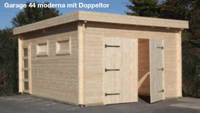 blockbohlen holzgarage garage 44 moderna inkl doppeltor 420x560 cm ebay. Black Bedroom Furniture Sets. Home Design Ideas