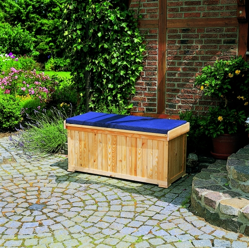 gartenbank mit polstertruhe bank sitzbank truhe box l120xb51xh56cm holz natur ebay. Black Bedroom Furniture Sets. Home Design Ideas