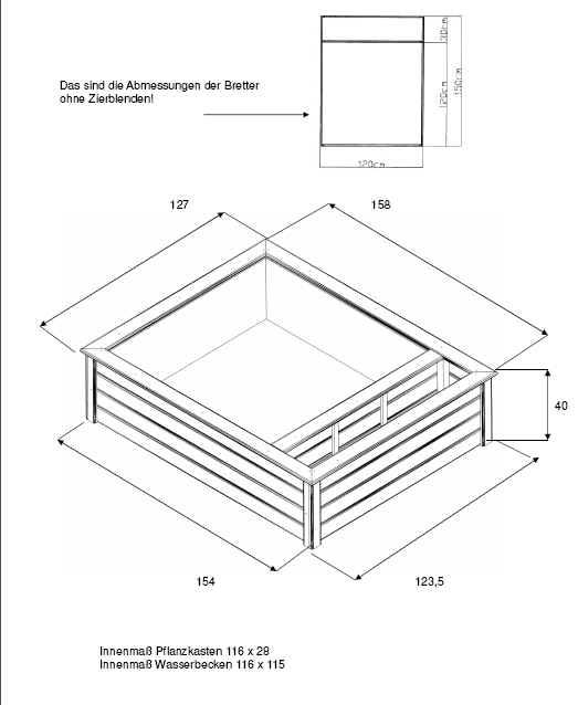 terrassenteich 120x150cm mit 1 pflanzzone hochteich ebay. Black Bedroom Furniture Sets. Home Design Ideas