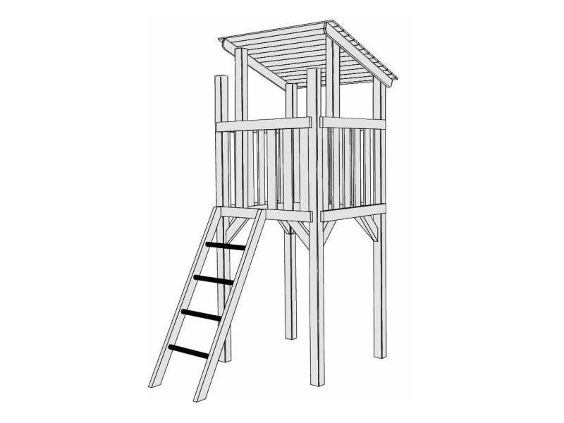 karibu spielturm pfiffikus mit pultdach kletterturm 116. Black Bedroom Furniture Sets. Home Design Ideas
