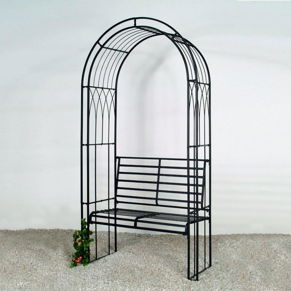 rosenbogen tabea mit bank laubengang pergola metall b130xt50xh279cm schwarz ebay. Black Bedroom Furniture Sets. Home Design Ideas